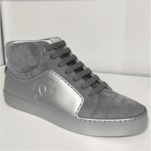 Chanel Silver/Gray Calfskin/Velvet High Cut Sneakers