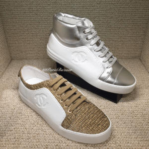 Chanel White/Beige/Gold Calfskin/Tweed and White/Silver High Cut Sneakers