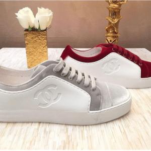 Chanel White/Gray and Red Calfskin/Velvet Sneakers