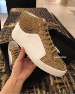 Chanel White/Beige/Gold Calfskin/Tweed High Cut Sneakers