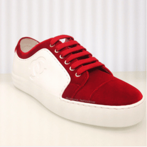 Chanel White/Red Calfskin:Velvet Sneakers 2
