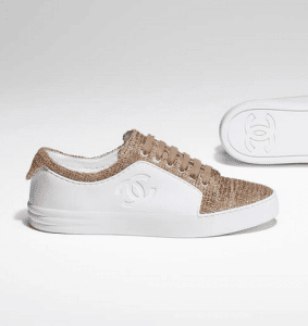 Chanel White/Beige/Gold Calfskin/Tweed Sneakers