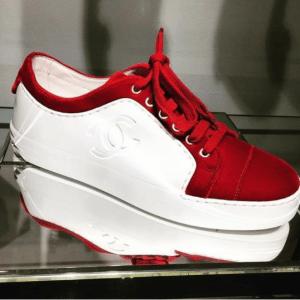 Chanel White/Red Calfskin/Velvet Sneakers