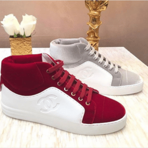 Chanel White/Red and Gray Calfskin/Velvet High Cut Sneakers