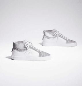 Chanel White/Silver Calfskin/Velvet High Cut Sneakers