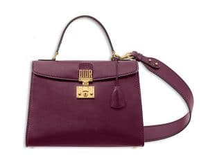 Dior Amaranth Calfskin Dioraddict Top Handle Bag