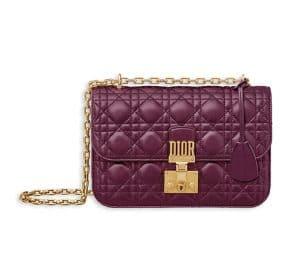 Dior Amaranth Lambskin Dioraddict Flap Bag