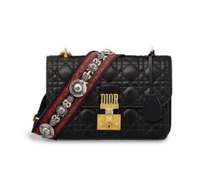 Dior Black Lambskin Dioraddict Flap Bag with Bohemian Strap