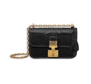 Dior Black Nile Crocodile Dioraddict Small Flap Bag