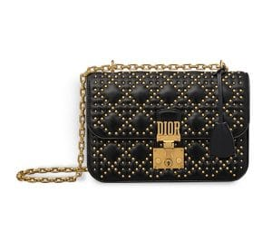 Dior Black Studded Lambskin Dioraddict Flap Bag