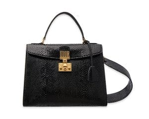 Dior Faded Black Python Dioraddict Top Handle Bag