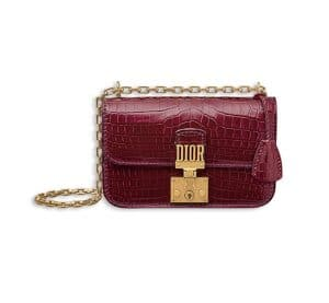 Dior Glossy Amaranth Nile Crocodile Dioraddict Small Flap Bag