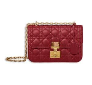 Dior Red Lambskin Dioraddict Flap Bag