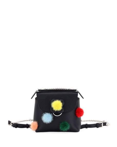 b565480082fb Fendi Black Mink Pompom Back To School Mini Backpack Bag