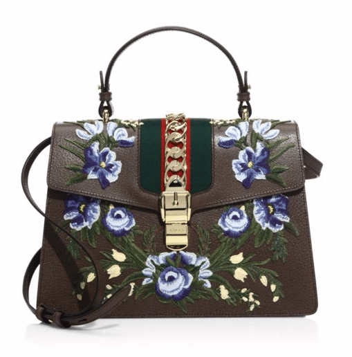 Gucci Sylvie Floral-Embroidered Leather Top Handle Bag