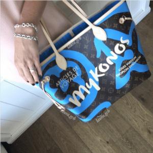 Louis Vuitton Blue Mykonos Monogram Canvas Tahitienne Neverfull Bags