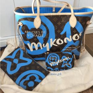 Louis Vuitton Blue Mykonos Monogram Canvas Tahitienne Neverfull and Mini Pochette Bags