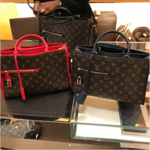 Louis Vuitton Red and Marine Monogram Canvas Popincourt PM Bags