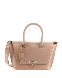 Valentino Beige Demilune Rockstud Small Satchel Bag