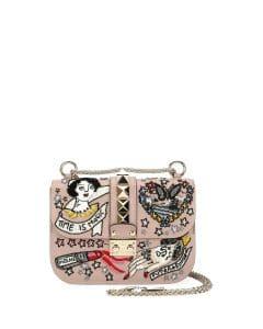 Valentino Beige Embellished Small Lock Bag