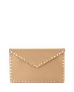 Valentino Beige Rockstud Large Envelope Clutch Bag