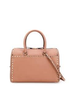 Valentino Beige Rockstud Zip Satchel Bag