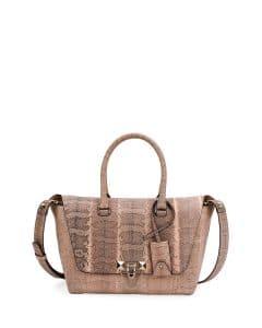 Valentino Beige Watersnake Demilune Small Satchel Bag