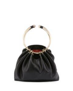 Valentino Black Bebop Loop Leather Top-Handle Bag