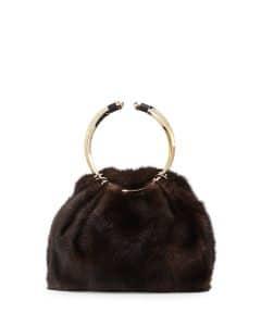 Valentino Black Bebop Loop Mink Fur Top-Handle Bag