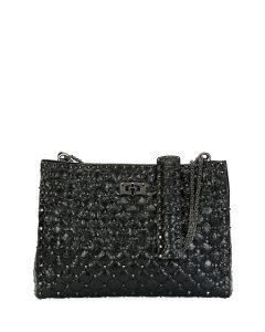 Valentino Black Crinkled Rockstud Spike Shoulder Bag