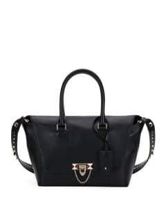 Valentino Black Demilune Rockstud Small Satchel Bag