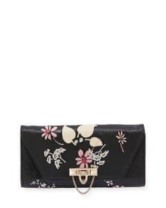 Valentino Black Floral Demilune Chain Clutch Bag