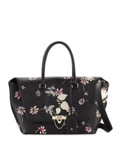 Valentino Black Floral Demilune Medium Satchel Bag