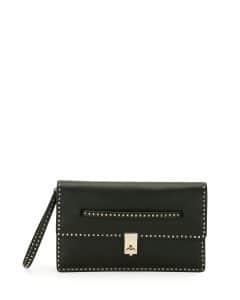Valentino Black Rockstud Flap Clutch Bag