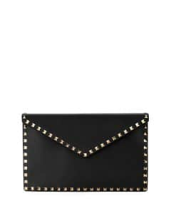 Valentino Black Rockstud Large Envelope Clutch Bag