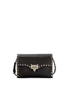 Valentino Black Rockstud Medium Shoulder Bag