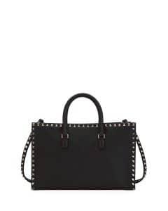 Valentino Black Rockstud Medium Tote Bag