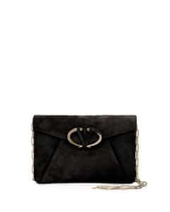 Valentino Black Suede V Rivet Clutch Bag