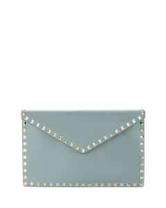 Valentino Blue Rockstud Large Envelope Clutch Bag