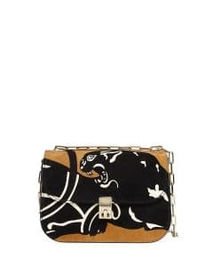 Valentino Brown Suede Panther Chain Shoulder Bag