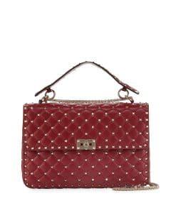 Valentino Burgundy Rockstud Spike Large Bag