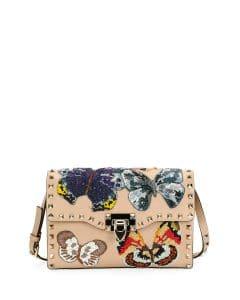 Valentino Camel Butterfly Embroidered Rockstud Shoulder Bag