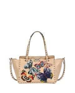 Valentino Camel Butterfly Embroidered Small Rockstud Tote Bag