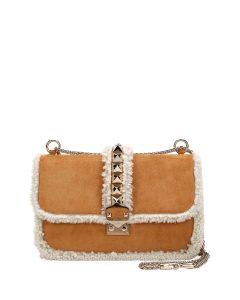 Valentino Camel Shearling Trimmed Medium Lock Bag