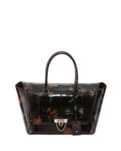 Valentino Chocolate Floral Patent Snakeskin Demilune Satchel Bag