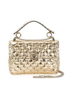 Valentino Gold Medium Rockstud Spike Bag
