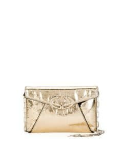 Valentino Gold Metallic V Rivet Clutch Bag