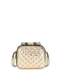Valentino Gold Rockstud Spike Crossbody Camera Bag