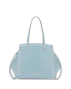 Valentino Light Blue Rockstud Double Handle Tote Bag