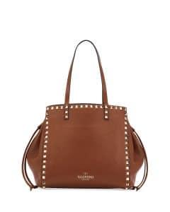 Valentino Light Brown Rockstud Double Handle Tote Bag